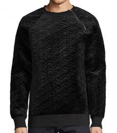Karl Lagerfeld Black Quilted Raglan-Sleeve Sweatshirt