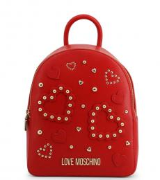 Love Moschino Red Studded Heart Medium Backpack