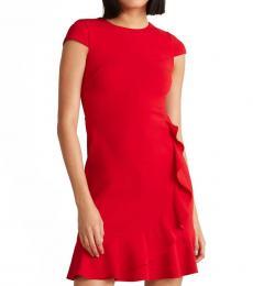 Red Ruffle Hem Sheath Dress