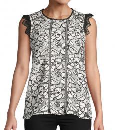 Karl Lagerfeld Ecru Lace Cotton-Blend Blouse