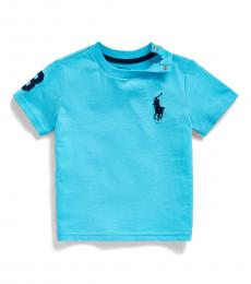 Ralph Lauren Baby Boys Liquid Blue Big Pony T-Shirt