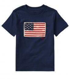 Ralph Lauren Little Boys Newport Navy Flag T-Shirt
