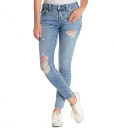 True Religion Light Blue Flap Distressed Skinny Jeans