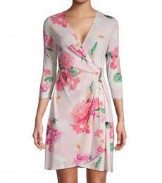 Porcelain Rose Floral Mini Wrap Dress