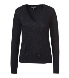 Emporio Armani Black V-Neck Knitted Sweater