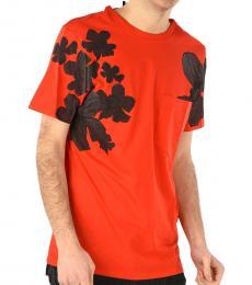 Neil Barrett Orange Floral Printed T-Shirt