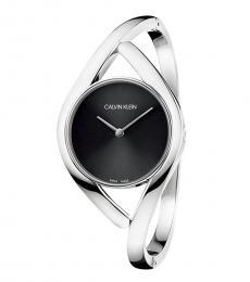 Calvin Klein Silver Black Dial Bangle Watch