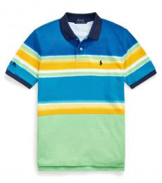 Ralph Lauren Boys New Lime Striped Mesh Polo