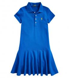 Ralph Lauren Girls Cruise Royal Stretch Mesh Polo Dress