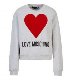 Love Moschino Light Grey Heart Logo Pullover