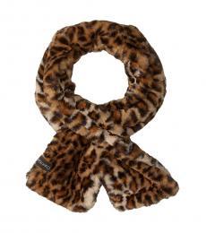 Calvin Klein Leopard Faux Fur Scarf