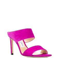 Magenta Hira Leather Heels