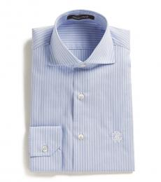 Roberto Cavalli Light Blue Pinstripe Dress Shirt