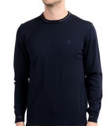 Navy Blue Wool Crewneck Sweater