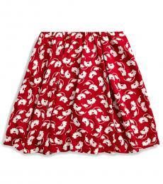Ralph Lauren Girls Red Cream Floral Skater Skirt