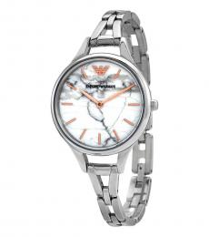 Emporio Armani Silver Marbled White Dial Watch