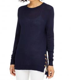 Michael Kors Petite True Navy Lace-Up Sweater