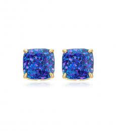 Kate Spade Blue Glitter Square Stud Earrings
