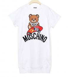 Moschino Little Girls White Teddy T-Dress