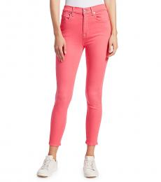 Sunset Coral High-Rise Ankle Skinny Jeans