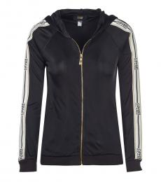 Cavalli Class Black Logo Hooded Jacket