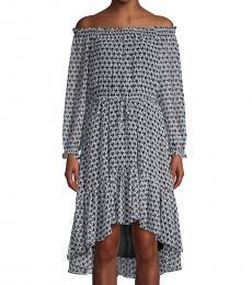 Diane Von Furstenberg Geo Blue Off-The-Shoulder High-Low Dress