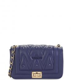 Mario Valentino Midnight Blue Beatrizd Quilted Small Shoulder Bag