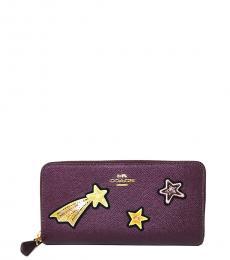 Coach Metallic Raspberry Star Accordion Wallet