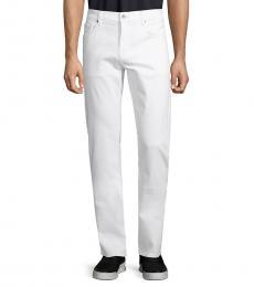 7 For All Mankind White Slim Straight-Leg Jeans