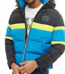 Diesel Turquoise Colorblock Logo Jacket