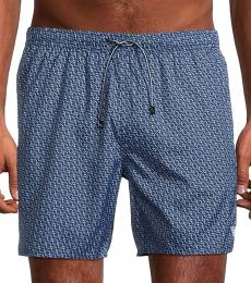 Emporio Armani Blue Chain-Print Swim Trunks