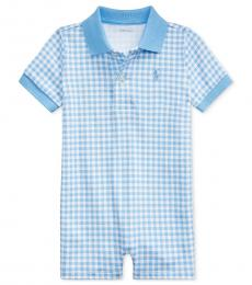 Ralph Lauren Baby Boys Chatham Blue Gingham Polo Shortall