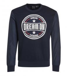 Armani Exchange Dark Blue Graphic Logo Sweatshirt