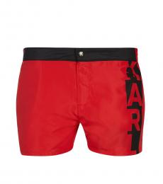 Karl Lagerfeld Red Logo Swim Trunks