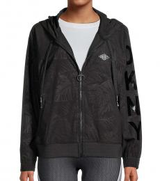 DKNY Black Monstera-Print Hooded Jacket