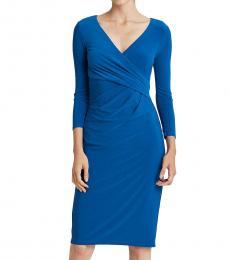 Ralph Lauren Dark Cerulean Wrap-Front Jersey Dress