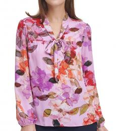DKNY Coral Cloud Floral Bow Tie Blouse