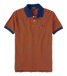 Ralph Lauren Boys Bright Orange Striped Polo