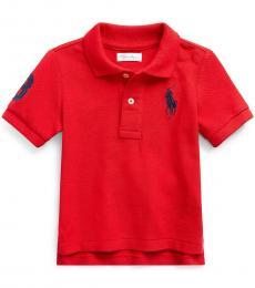 Ralph Lauren Baby Boys Red Mesh Polo