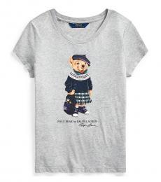 Ralph Lauren Girls Heather Grey Backpack Bear T-Shirt