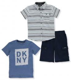DKNY 3 Piece T-Shirt/Shirt/Shorts Set (Baby Boys)