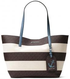 Brown/Blue Striped Large Tote