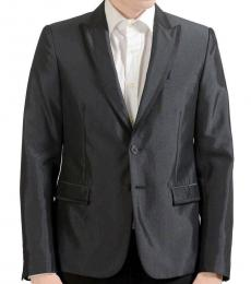 Dark Grey Wool Two Button Blazer