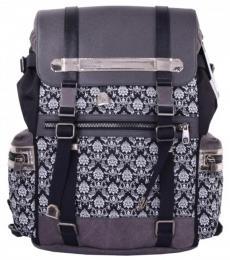 Dolce & Gabbana Black Grey Floral Baroque Large Backpack
