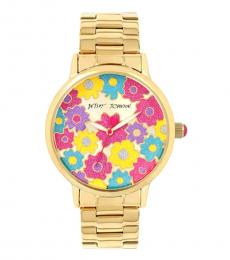 Betsey Johnson Gold Ritzy Flower Crystal Watch