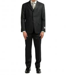 Armani Collezioni Grey Cashmere Striped Suit