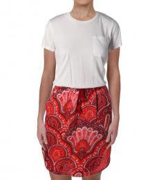 Ralph Lauren White Marlana Mixed Media Dress