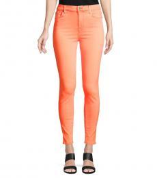 Orange High-Rise Ankle Skinny Jeans