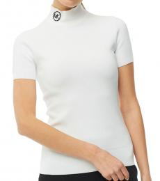 Michael Kors White Logo Mock Neck Sweater