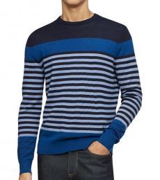 Calvin Klein Blue Striped Wool-Blend Sweater
